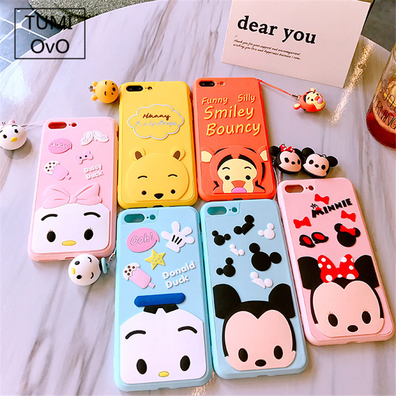 Pendant Doll Cartoon Case For iPhone 6 6s 7 Plus 8 Plus Soft TPU Silicon Mickey Minnie Donald Duck Daisy Cases Candy Color Capa