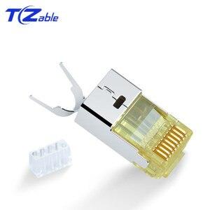Image 5 - Cat6 Cat7 RJ45 konektörü Ethernet adaptörü 8P8C ağ genişletici uzatma kablosu altın kaplama kalkan modüler RJ 45 konnektör