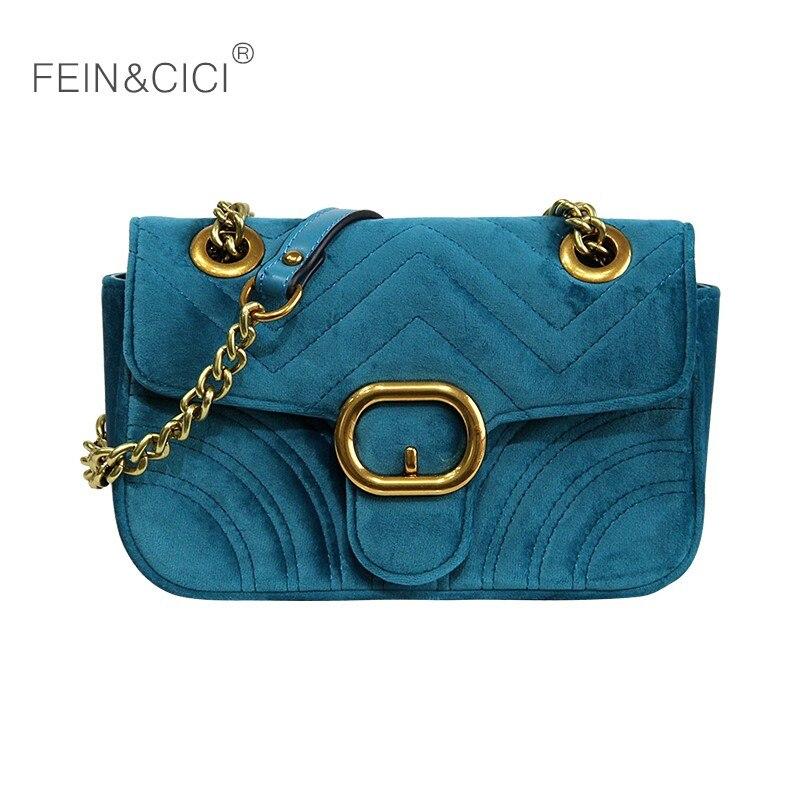 Velour chains flap bag women velvet quilted cross body bag luxury brand fashion lady messenger handbag