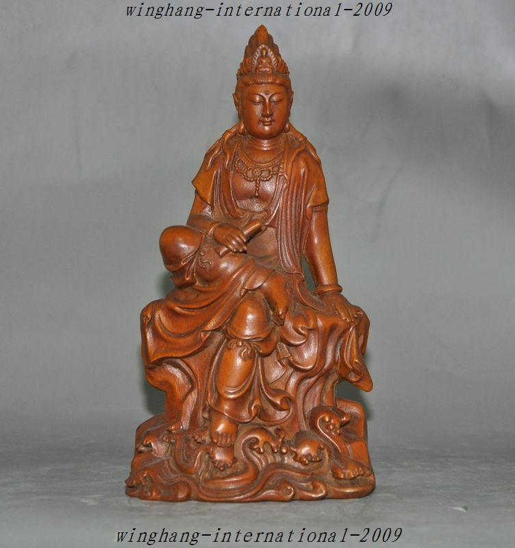 Crafts statue Old Chinese Buddhism Temple Boxwood Hand-Carved Goddess Kwan-yin Guanyin Statue Crafts statue Old Chinese Buddhism Temple Boxwood Hand-Carved Goddess Kwan-yin Guanyin Statue