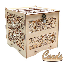 OHEART Rose Flower Wedding Card Box With Lock Square DIY Rustic Money Wooden Greeting Evening Party Anniversaries