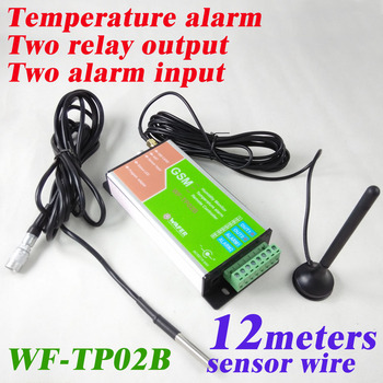 TP02B with 12 meter length temperature sensor GSM Temperature Monitoring ,SMS alarm report, Two relay output and two input port