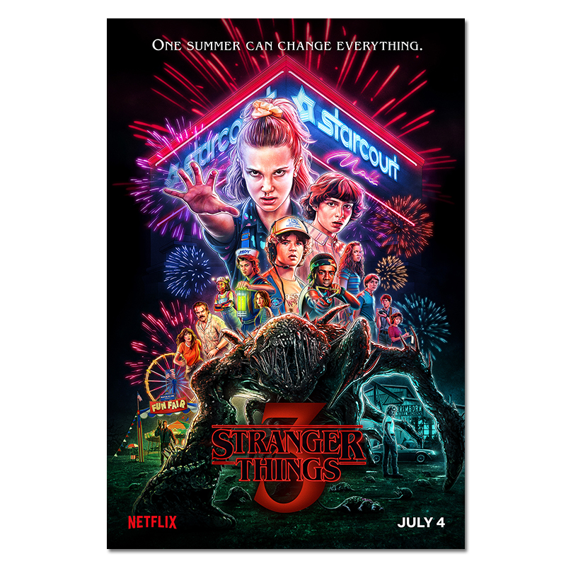 Stranger Things Poster Season 3 2 1 Characters Posters TV Movie Prints Silk Wall Art For Living Room Bedroom Decor 40x60 50x75cm
