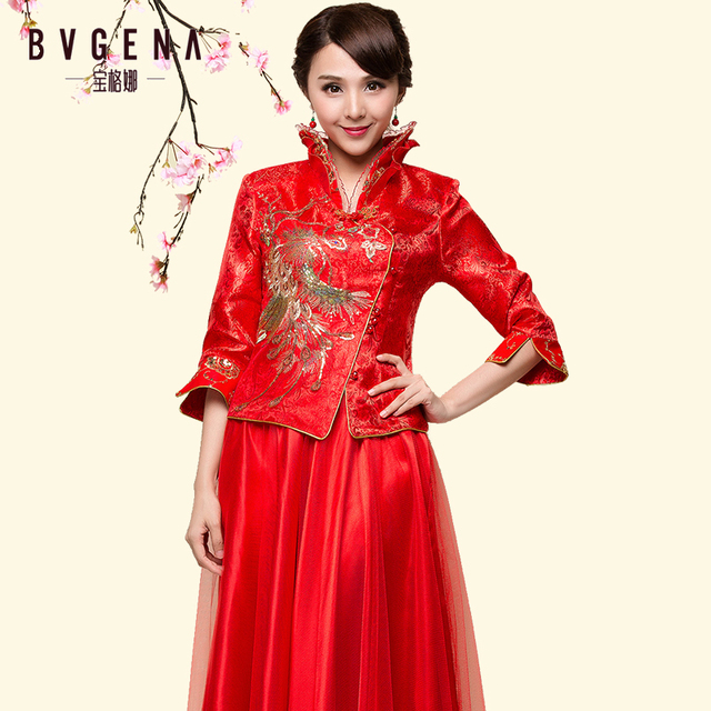 6f8ed5e0410 Traditional Bride Show dress chinese style married bridesmaid evening  cheongsam red long-sleeve vintage China