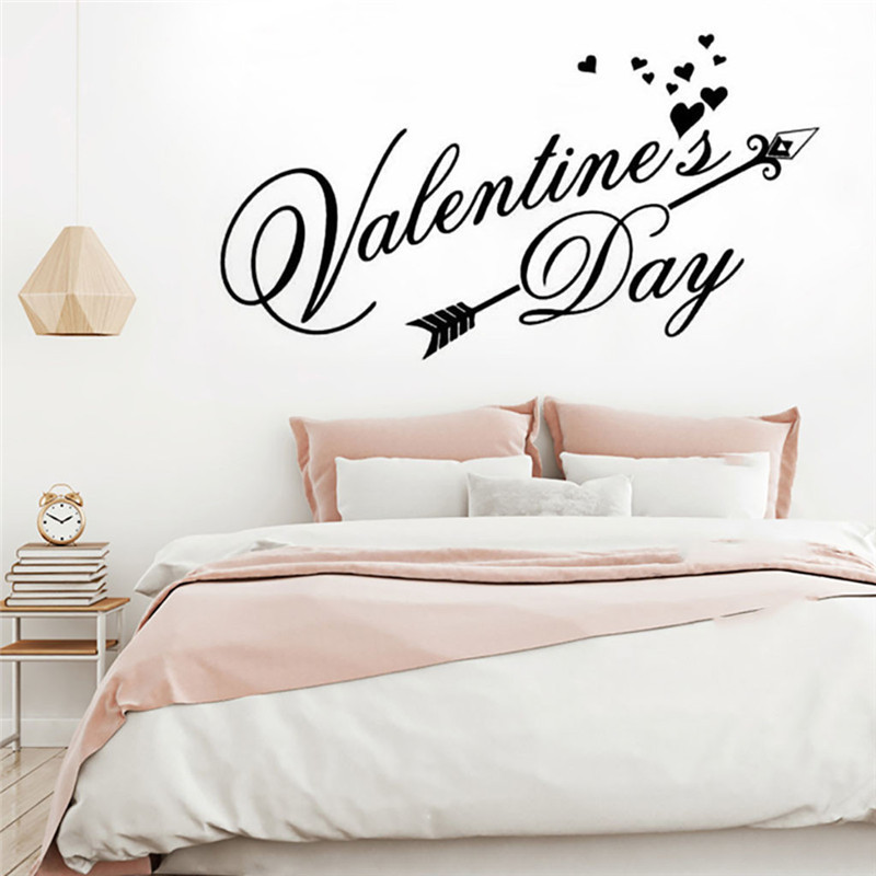 Image 5 - Wall stickers bedroom home decor Removable Vinyl Decal Art Mural Valentine's Home Living Room Decor Wall Stickers wallpaper 2019-in Wall Stickers from Home & Garden