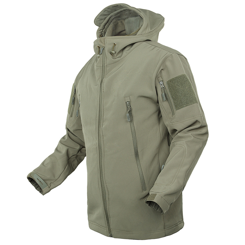 Men's Jacket Coat Military Windproof Breathable Tad Tactical Fleece Shooting Mountain Micro Thermal Polar Fleece Hooded Jacket