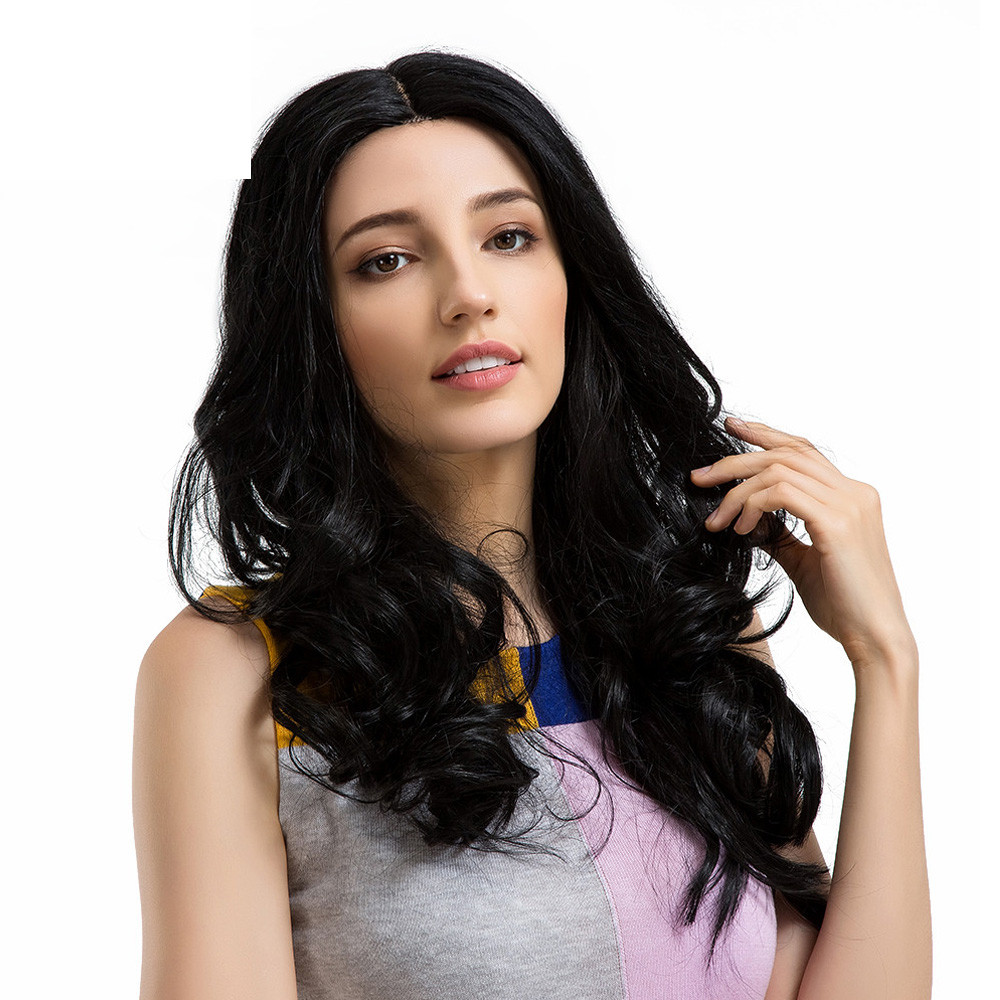 New women synthetic wigs Black Middle Parting Long Curly Lace Hair Wave Human Hair Female Wigs 0910 бразильское curly wave closure 4x4 virgin human hair deep wave curly lace closure bleahced knots free middle 3 part top closure