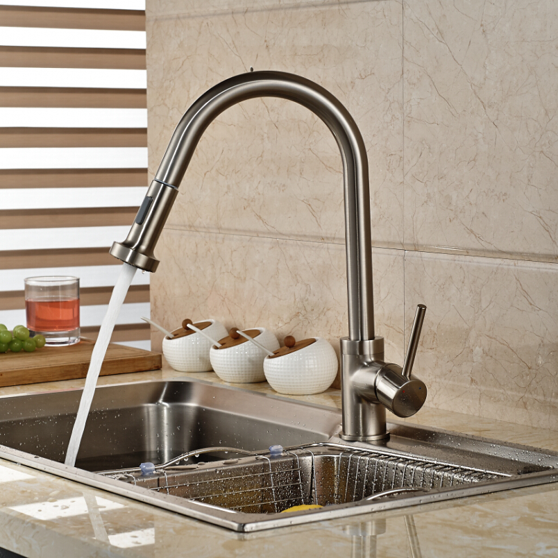 Luxury Deck Mounted Pull Out Dual Sprayer Kitchen Sink Mixer Tap Brushed Nickel Bathroom Kitchen Single
