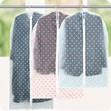 New High-quality Translucent Pink Dot PEVA Clothes Dust Cover Washable Tidy Clothing Storage Bags For Suit Overcoat Jacket #FC-2