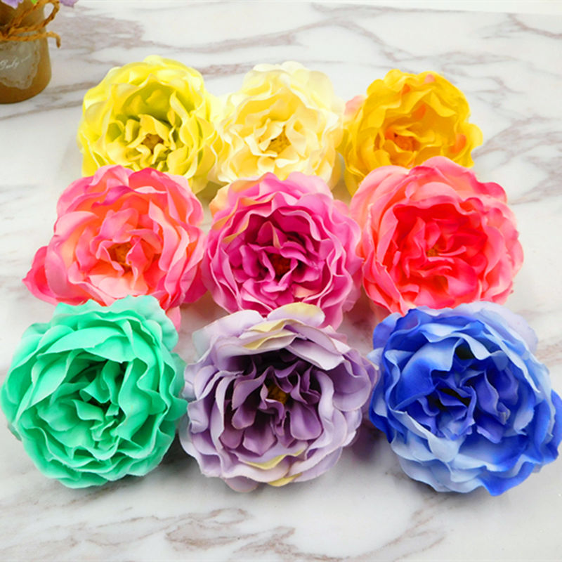 10 PCS (6cm/dot) simulation of artificial silk peony flower head wedding home party decoration DIY garland gift box collage
