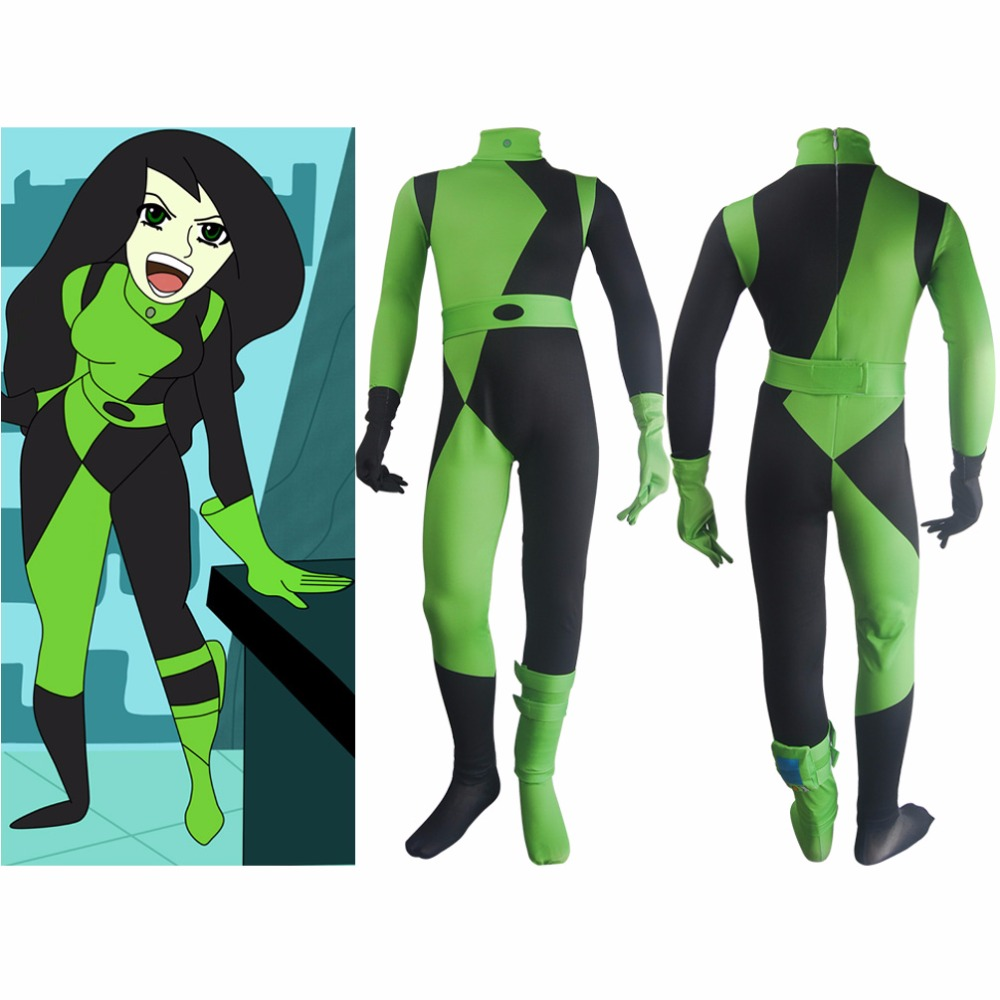 Kids Girls Kim Possible Shego cosplay jumpsuit super villain halloween costume zentai bodysuit birthday gift