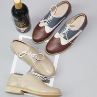 British Style Women Oxford Shoes Flats Handmade Retro Summer Spring Shoes Lace Up Loafers Brown Casual Sneakers Flat Shoes Woman