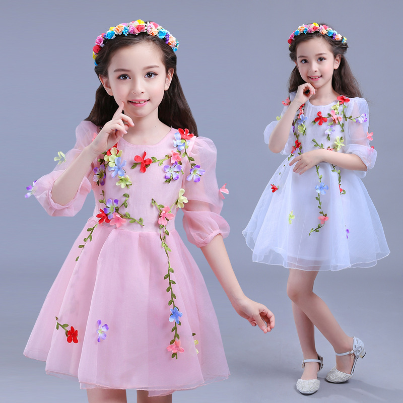 Flower Girls Dress Summer Style Toddlers Teen Children Princess Clothing Fashion Kids Party Clothes Sleeveless Dresses for Girls new girls dress brand summer clothes ice cream print costumes sleeveless kids clothing cute children vest dress princess dress