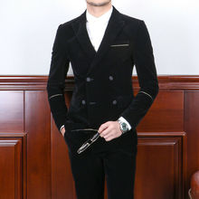 Mens Black Velvet Suits Modern Fit Double-breasted 2 Pieces Formal Tuxedos