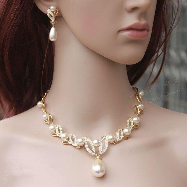 Gold Tone CZ Crystal Water drop Pearl Ladys Wedding Dress Jewelry