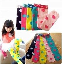2016 New Korea baby girls stockings cotton cartoon kids girls bottoming stockings children clothing candy color dot stockings