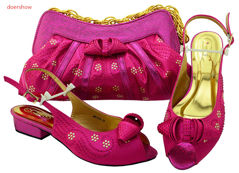 doershow  new fuchsia Women Matching Italian Shoe and Bag Set for Wedding Italian Shoes with Matching Bags Italy Shoe HSK1-23 fashion italy design italian matching shoe and bag set african wedding shoe and bag sets women shoe and bag to match tmm1 41
