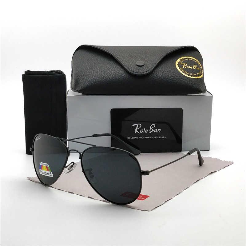 Marca unisex clássico designer masculino óculos de sol polarizados uv400 espelho lente moda óculos de sol para homem mulher com caso