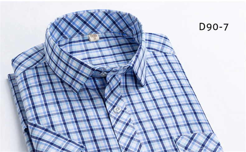 HTB19deVUZfpK1RjSZFOq6y6nFXaV Checkered shirts for men Summer short sleeved leisure slim fit Plaid Shirt square collar soft causal male s with front pocket