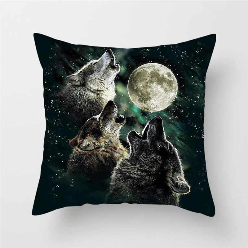 Fuwatacchi 3D Fluorescência Lobo Capa de Almofada de Poliéster Tigre Animal Cão Travesseiro Capa para Sofá da Sala de estar Decoração de Casa Travesseiro