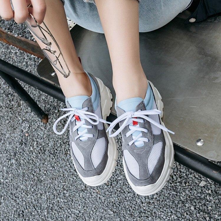 Femmes Chaussures Nouveau Décontractées Maille Baskets Gris Lacets apricot Dames 2019 Plat À Respirant Compensées Printemps Semelles wq4pInExpg
