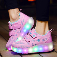 Brand Kids shoes childr 2019 USB heelies sports sneakers with Double TWO wheel LED Light Up shoes Girls&Boys Luminous Skate Shoe