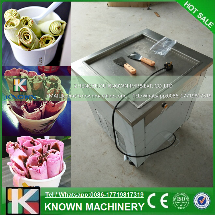 Ice Cream Rolls Making Machine Fried Ice Cream Maker Machine with Square Pan Stainless Steel Freezer Fruit Ice Rolls vik max adult kids dark blue leather figure skate shoes with aluminium alloy frame and stainless steel ice blade