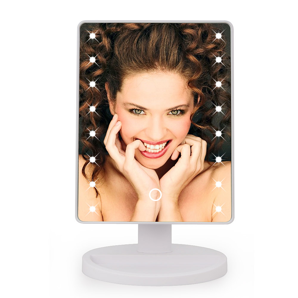Adjustable tabletop lamp 16 22 leds lighted led touch for Beauty mirror