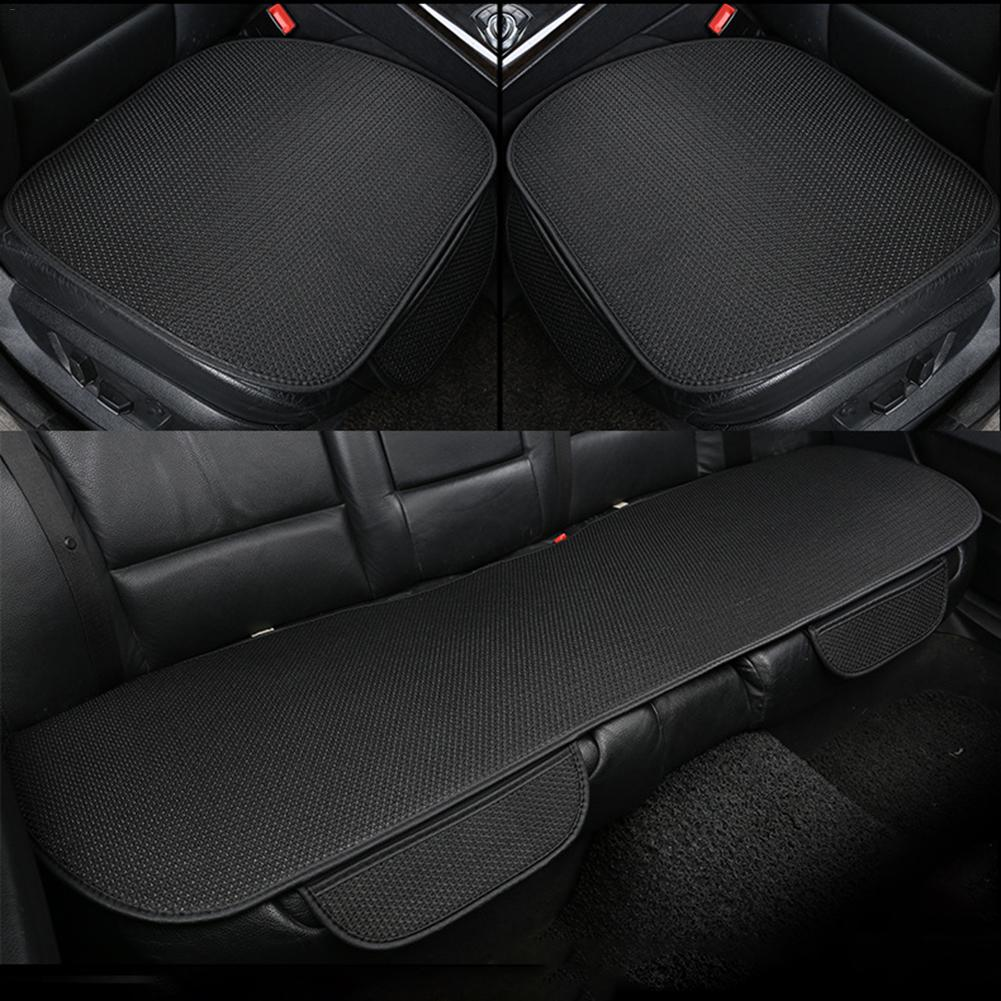 Universal Car Seat Cushion Summer Viscose Cushion Three-piece Car Seat Cover For Four Seasons Black Beige Coffee Color New(China)