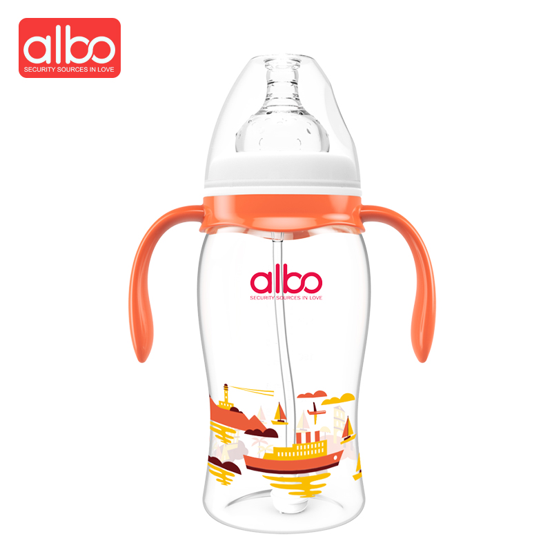 ALBO Hot Selling New Design Wide Mouth Baby Feeding Bottle 300ml Cute Streamline Large S ...