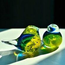 Europe style crystal glass birds Decorative arts crafts Coloured glaze birdie Figurines animal Miniatures wedding gifts