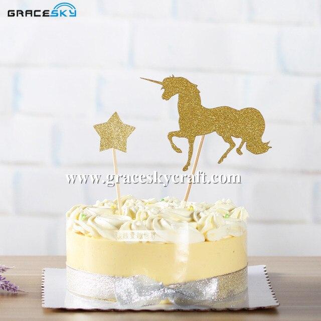 20pcs free shipping Glitter paper Pegasus horse Birthday Cake