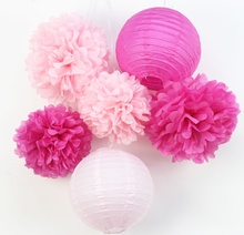 6pcs (Pink,Fuchsia) Paper Decoration Set Crafts(Paper Lantern,Pom Pom) Wedding Birthday Valentine Party Nursery Decor