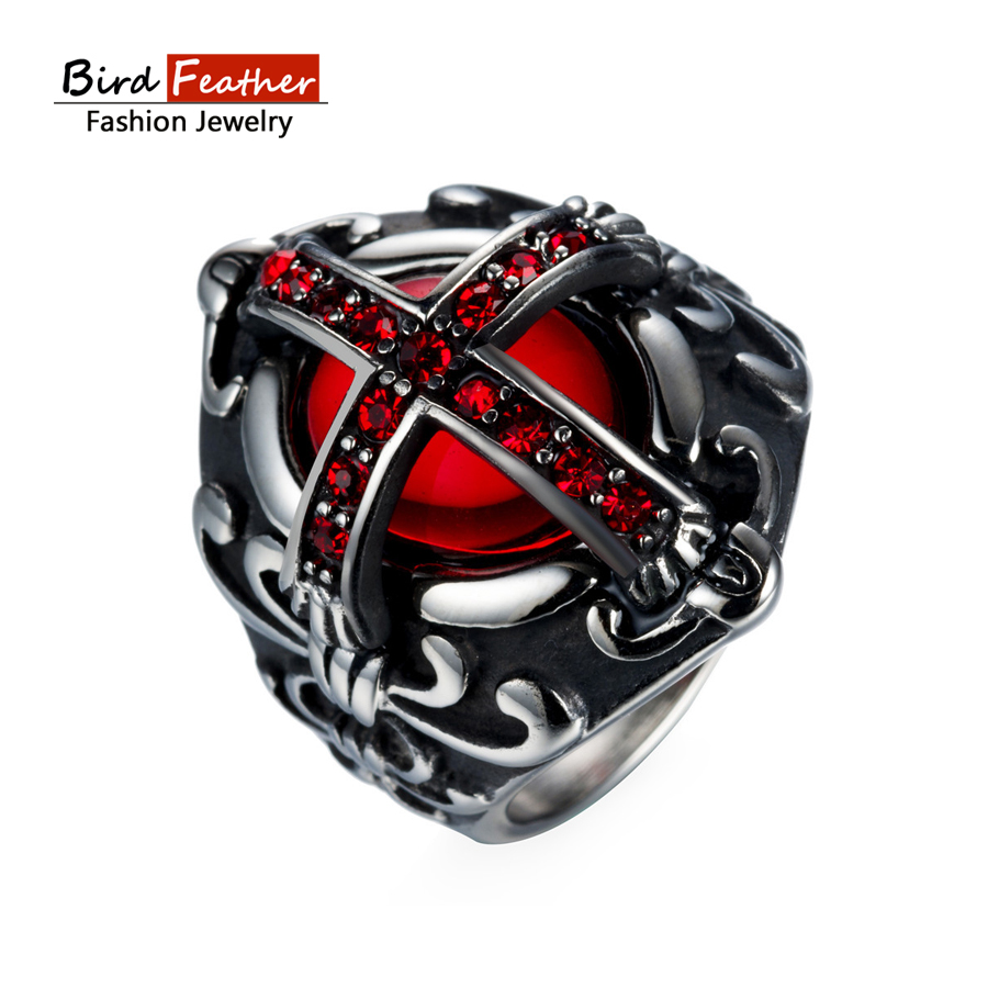 2017 new arrival gothic cross wedding ring for men woman silver color stainless steel cool