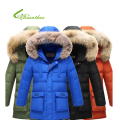 2016 New Sale Children Winter Feather Warm Down Jacket Boy Clothes With Long Section Big Raccoon Fur Collar Tthick Winter Coat