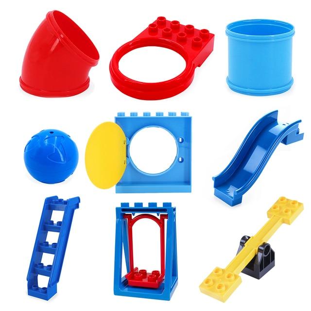 Большой строительные блоки трубы в сочетании слайд-лестница кирпич качели аксессуар DIY игрушки для детей площадка Совместимость с Duplo подарок
