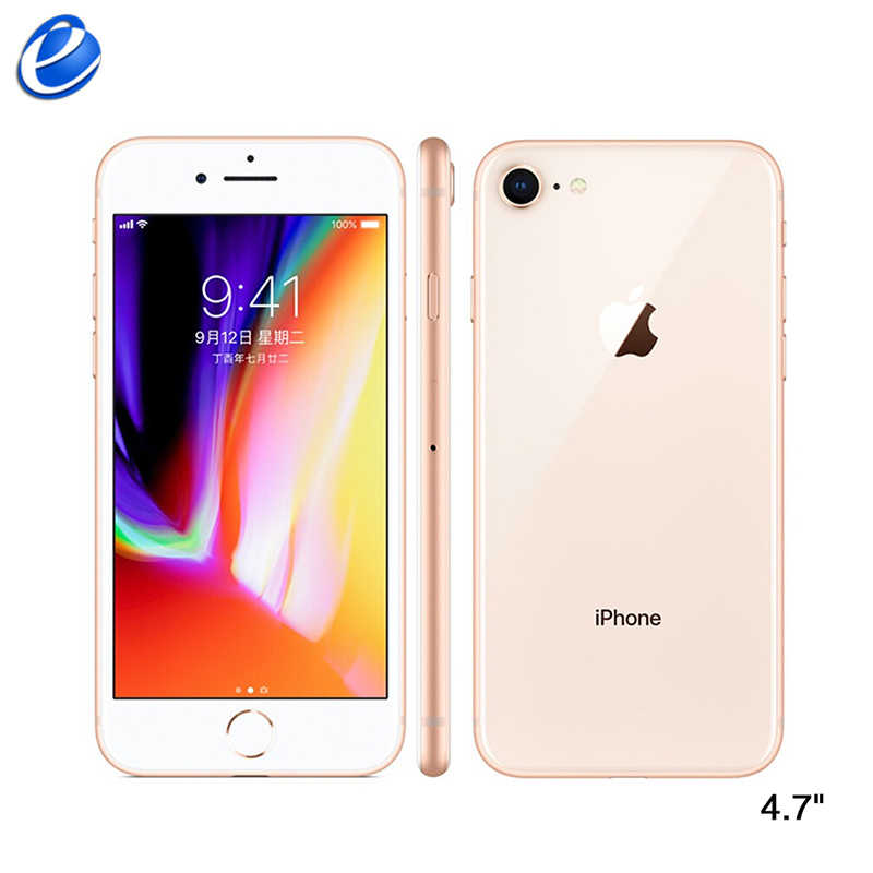 "França original apple iphone 8 64 gb/256 gb hexa-core ios 3d touch id telefone lte 12.0mp 4.7 ""polegadas impressão digital smartphone navio espanha"