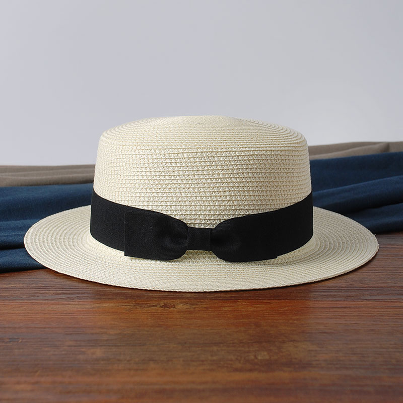 2019 Hot Parent-child sun hat women men sun hats bow hand made straw cap beach Flat brim hat casual girls summer cap 52-55-58cm(China)