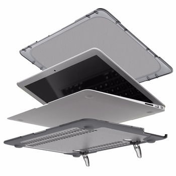 Funda De Cubierta Engomada Delgada RYGOU Para Macbook Air 13 11 Para Mac Book Air 11,6 13,3 Pulgadas [Heavy Duty] Funda Plegable Para Portátil Con Soporte