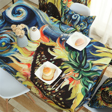 Idyllic cotton linen tablecloth Rectangular Printed coffee table cloth Van Gogh sunflower