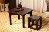 Japanese Antique Tea Table Square 60cm Paulownia Wood Traditional Oriental Asian Furniture Living Room Low Kongfu
