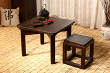 Japanese Antique Tea Table Square 60cm Paulownia Wood Traditional Oriental Asian Furniture Living Room Low Kongfu Table Wooden