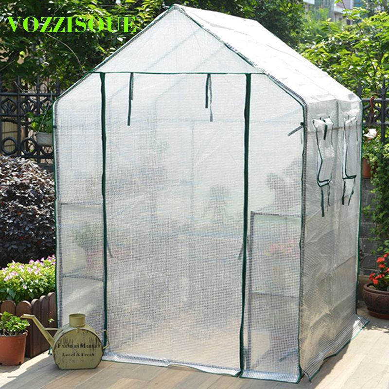 Outdoor Garden Greenhouses Flower Plant Keep Warm Shelf Roof Greenhouse for Garden Shed Durable PVC Plastic Cover Roll up Zipper