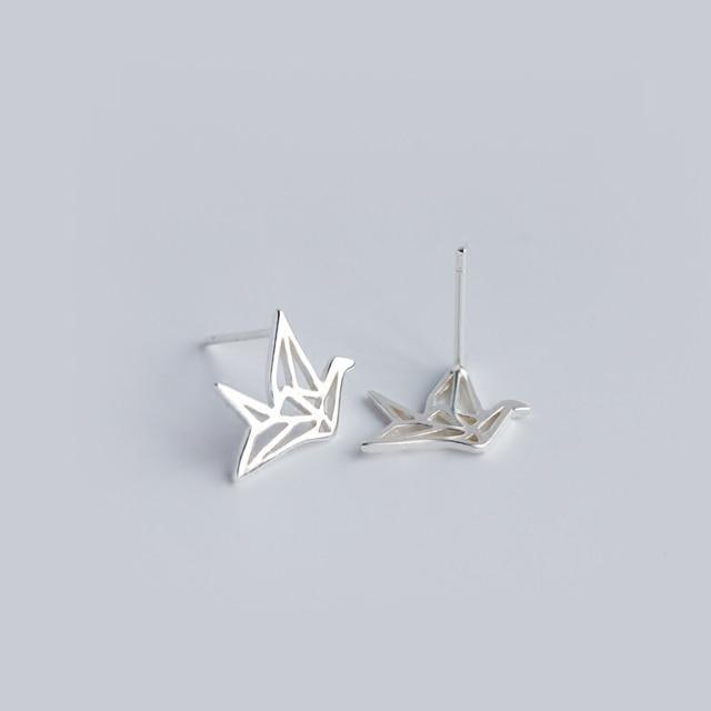 Mloveacc moda amizade 925 brincos de prata esterlina lindo origami guindaste brincos para as mulheres bonito pássaro festa presente