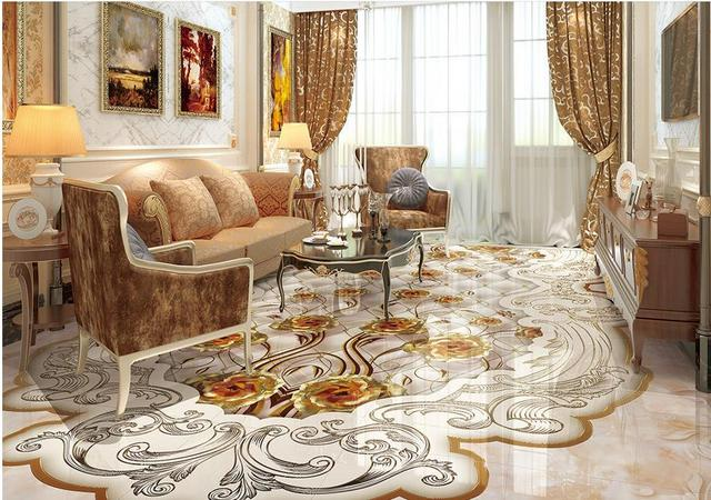 Custom 3d flooring kitchen stone golden rose photo 3d for Kitchen wallpaper 3d