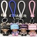 Cute Panda Kiki Diamond Keychain High-grade Leather Car Keychain Creative Fashion Bag Ornaments  Monchhichi Key Buckle 001