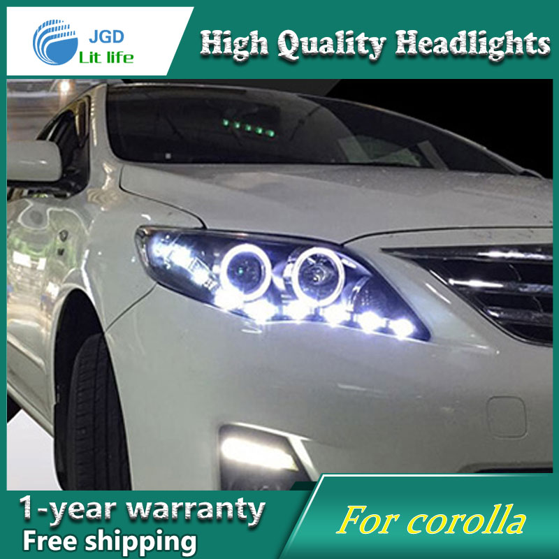Free shipping Head lamp for Toyota corolla headlights 2011-2013 LED bar headlight DRL H7 Xenon lamp free shipping front center grill grid grille cover trim for 2014 2016 for toyota corolla
