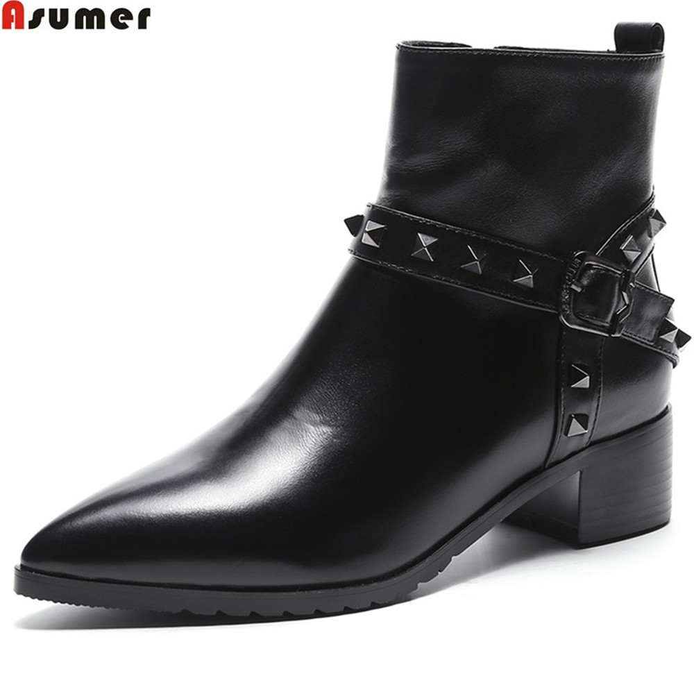 ASUMER black fahsion women boots pointed toe genuine leather boots square heel rivet cow leather ankle boots asumer black brown fashion women boots round toe genuine leather boots square heel cow leather ankle boots med heel shoes