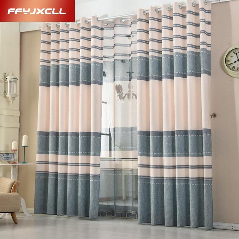 Modern Cotton Linen Blue Purple Striped Blackout Curtains