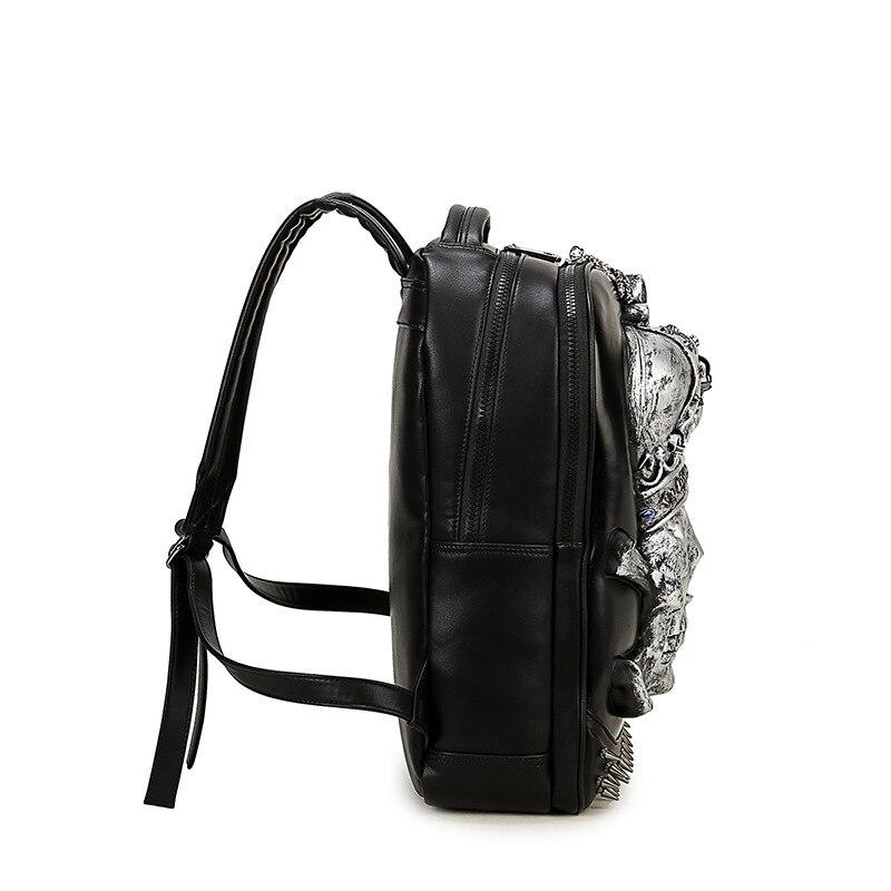 Sacs à dos d'épaule de tête de crâne de feu 3D sacs d'école d'impression de squelette pour des adolescents sac à dos de jour de style punk sacs de voyage des hommes